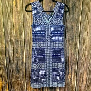 TOMMY BAHAMA Greek Grid Tambour sleeveless dress S